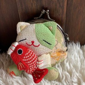Cat holding fish coin Purse